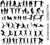family silhouettes . vector... | Shutterstock .eps vector #134067794