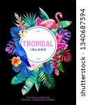 tropical hawaiian design with... | Shutterstock .eps vector #1340687594
