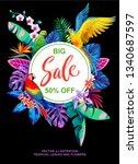 tropical hawaiian sale poster... | Shutterstock .eps vector #1340687597