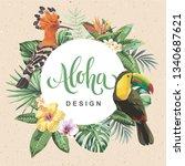 tropical hawaiian design with... | Shutterstock .eps vector #1340687621
