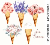 set of vector flower ice cream | Shutterstock .eps vector #1340695064