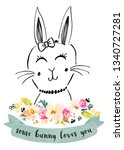 cute bunny drawing background | Shutterstock . vector #1340727281