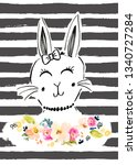 cute bunny drawing background | Shutterstock . vector #1340727284