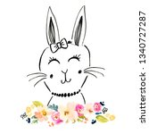 cute bunny drawing background | Shutterstock . vector #1340727287
