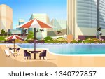 luxury city hotel swimming pool ... | Shutterstock .eps vector #1340727857