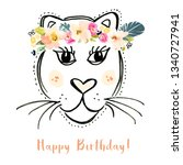 cute hand drawn tiger face with ... | Shutterstock . vector #1340727941