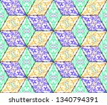 colorful seamless rhombus... | Shutterstock . vector #1340794391