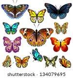 Stock vector set of colorful realistic isolated butterflies vector illustration 134079695