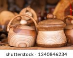 handcrafted wooden dishes.... | Shutterstock . vector #1340846234