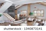 modern interior design of house ... | Shutterstock . vector #1340873141