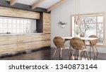modern interior of wooden... | Shutterstock . vector #1340873144