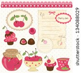 set of cherry design elements... | Shutterstock .eps vector #134088029