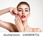 beautiful fashion woman with a... | Shutterstock . vector #1340898731