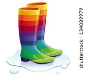 Vector Rubbers Boots In Rainbo...