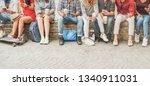 happy millennials friends using ... | Shutterstock . vector #1340911031