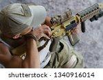 armed american soldier... | Shutterstock . vector #1340916014