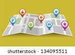 vector map icon with pin... | Shutterstock .eps vector #134095511