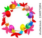 spring design painted egg and... | Shutterstock .eps vector #1340972894