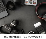 top view of work space... | Shutterstock . vector #1340990954
