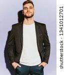 portrait of handsome confident... | Shutterstock . vector #1341012701