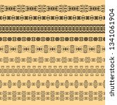 set of black borders on a beige ... | Shutterstock .eps vector #1341061904