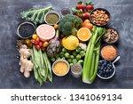 healthy organic food on dark... | Shutterstock . vector #1341069134
