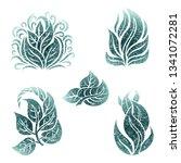 vector set of grunge floral ... | Shutterstock .eps vector #1341072281
