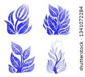 vector set of grunge floral ... | Shutterstock .eps vector #1341072284