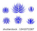 vector set of grunge floral ... | Shutterstock .eps vector #1341072287