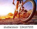 low angle view of cyclist... | Shutterstock . vector #134107355