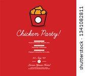 fried chicken bucket invitation ... | Shutterstock .eps vector #1341082811