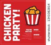 fried chicken bucket invitation ... | Shutterstock .eps vector #1341082814