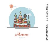 saint basils cathedral at... | Shutterstock .eps vector #1341085517