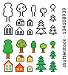 pixel art homes and trees. eps8 | Shutterstock .eps vector #134108939