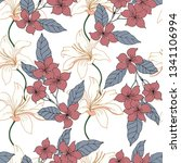 beautiful seamless floral... | Shutterstock .eps vector #1341106994