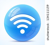 wifi blue symbol isolated | Shutterstock .eps vector #134111159