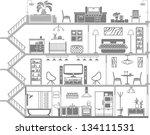 house interior silhouette....   Shutterstock .eps vector #134111531