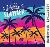 hello summer design for summer... | Shutterstock .eps vector #1341119384