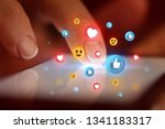 finger touching phone with... | Shutterstock . vector #1341183317