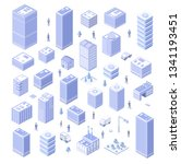 isometric set house urban city... | Shutterstock .eps vector #1341193451