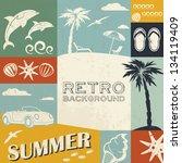 summer background in retro style | Shutterstock .eps vector #134119409