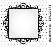 Retro Square Frame On Polka Do...