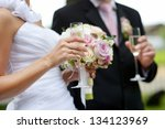 bride is holding a wedding... | Shutterstock . vector #134123969
