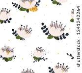 vector floral seamless pattern... | Shutterstock .eps vector #1341242264