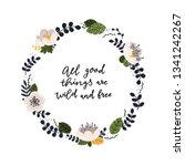 vector card with floral wreath... | Shutterstock .eps vector #1341242267