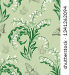 seamless vector floral pattern. ... | Shutterstock .eps vector #1341262094