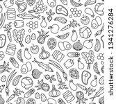 farmer's market seamless... | Shutterstock .eps vector #1341276284