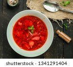 red tomato soup with vegetables ... | Shutterstock . vector #1341291404
