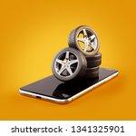 unusual 3d illustration of car... | Shutterstock . vector #1341325901