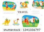 flat summer travel concept with ... | Shutterstock .eps vector #1341336797